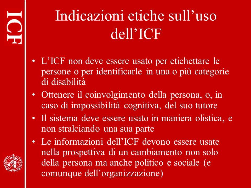 Indicazioni etiche sull'uso dell'ICF