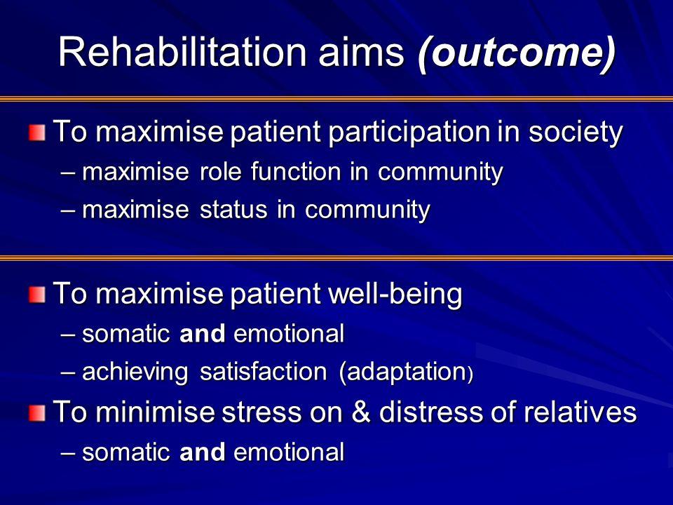 Rehabilitation aims (outcome)