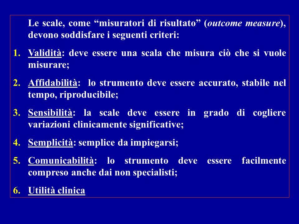 Le scale, come misuratori di risultato (outcome measure), devono soddisfare i seguenti criteri: