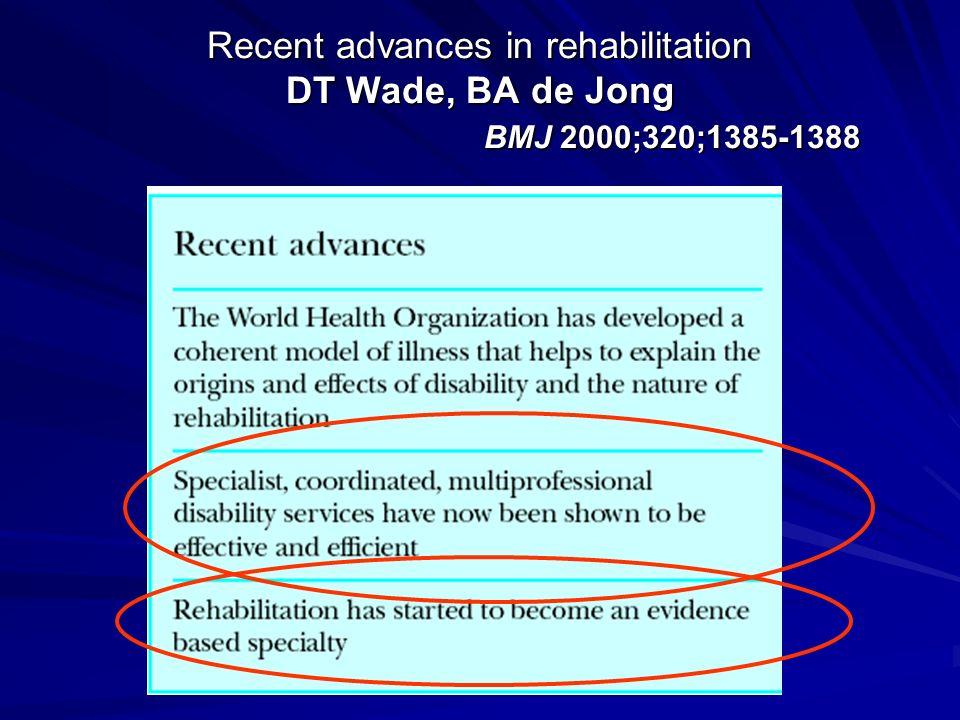 Recent advances in rehabilitation DT Wade, BA de Jong