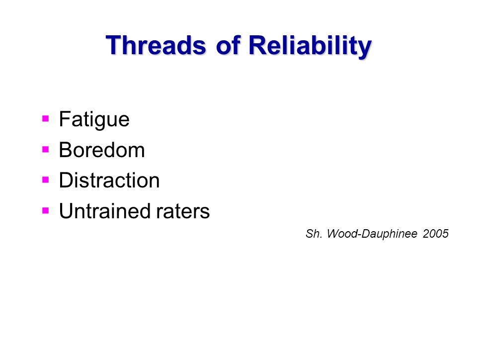 Threads of Reliability