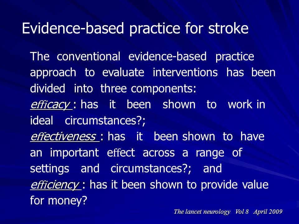 Evidence-based practice for stroke