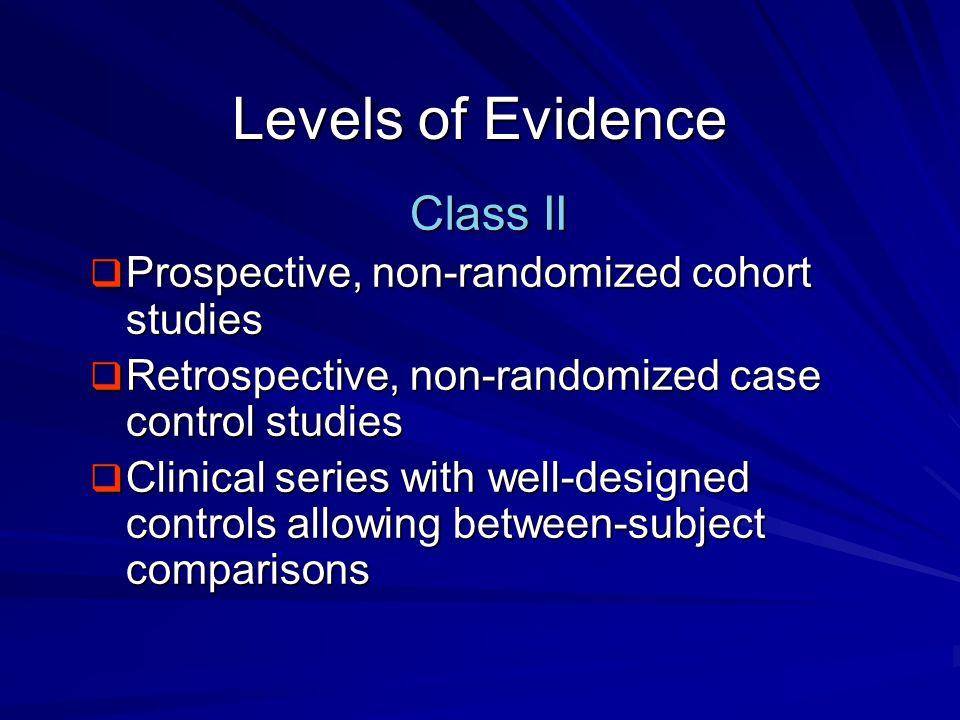 Levels of Evidence Class II Prospective, non-randomized cohort studies
