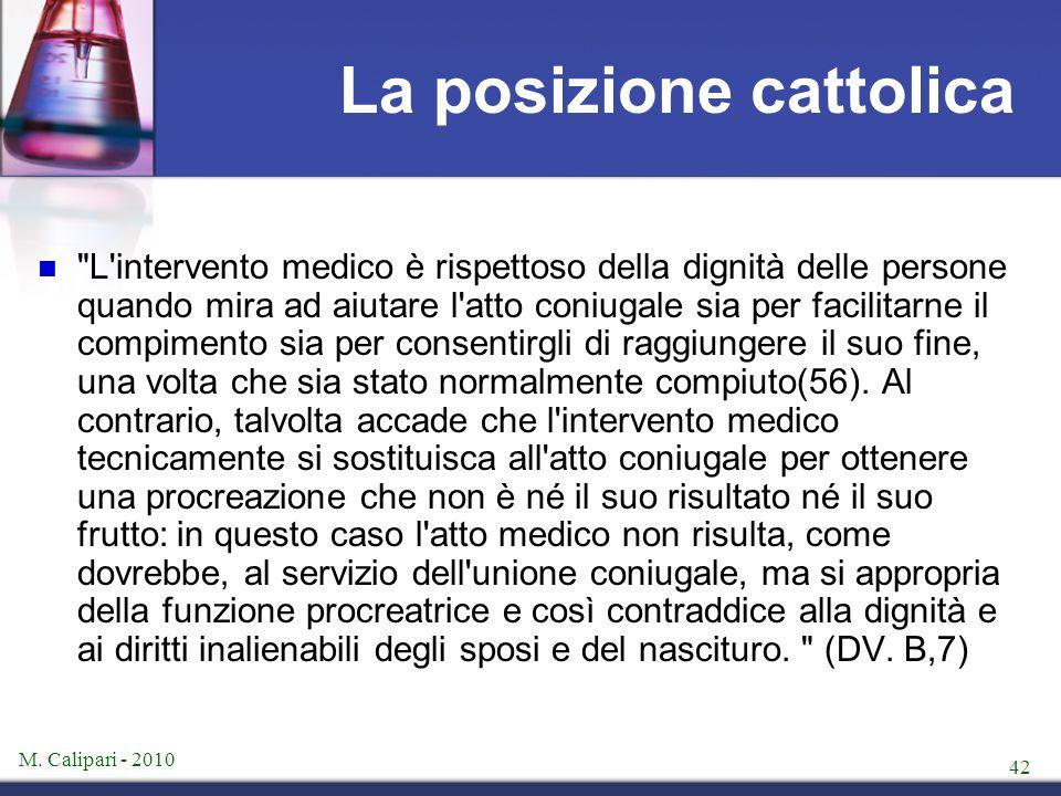 La posizione cattolica