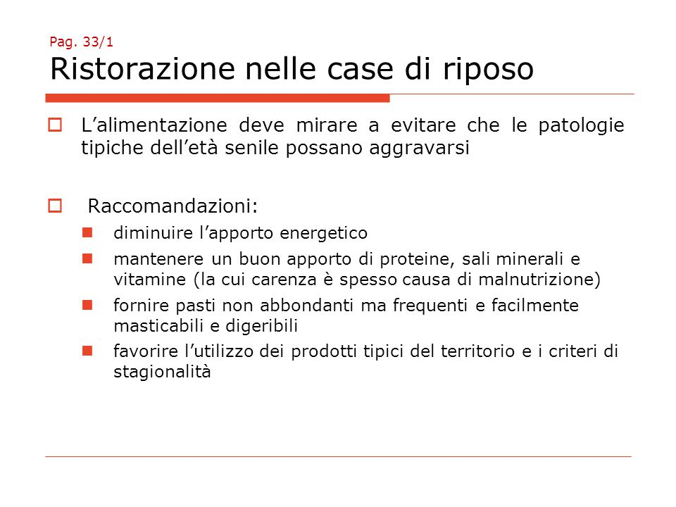 Pag. 33/1 Ristorazione nelle case di riposo