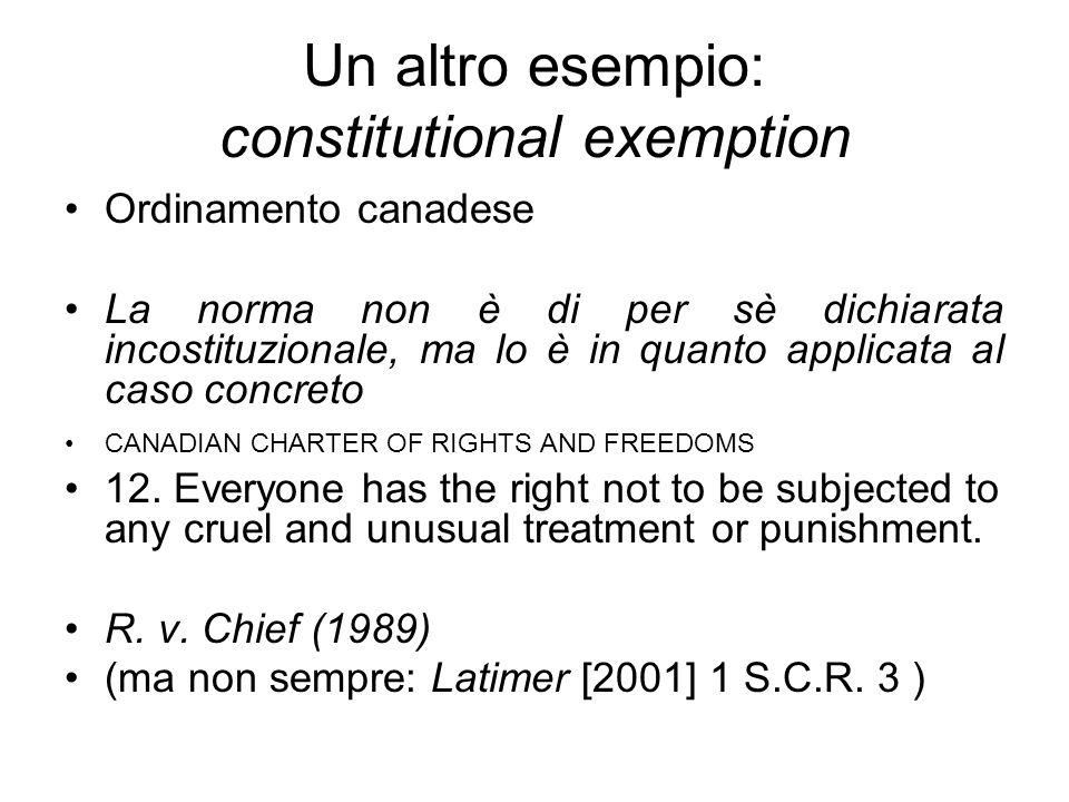 Un altro esempio: constitutional exemption