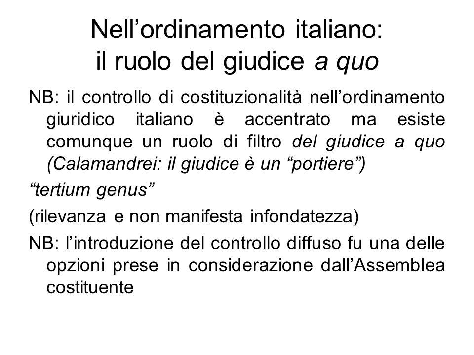 Nell'ordinamento italiano: il ruolo del giudice a quo