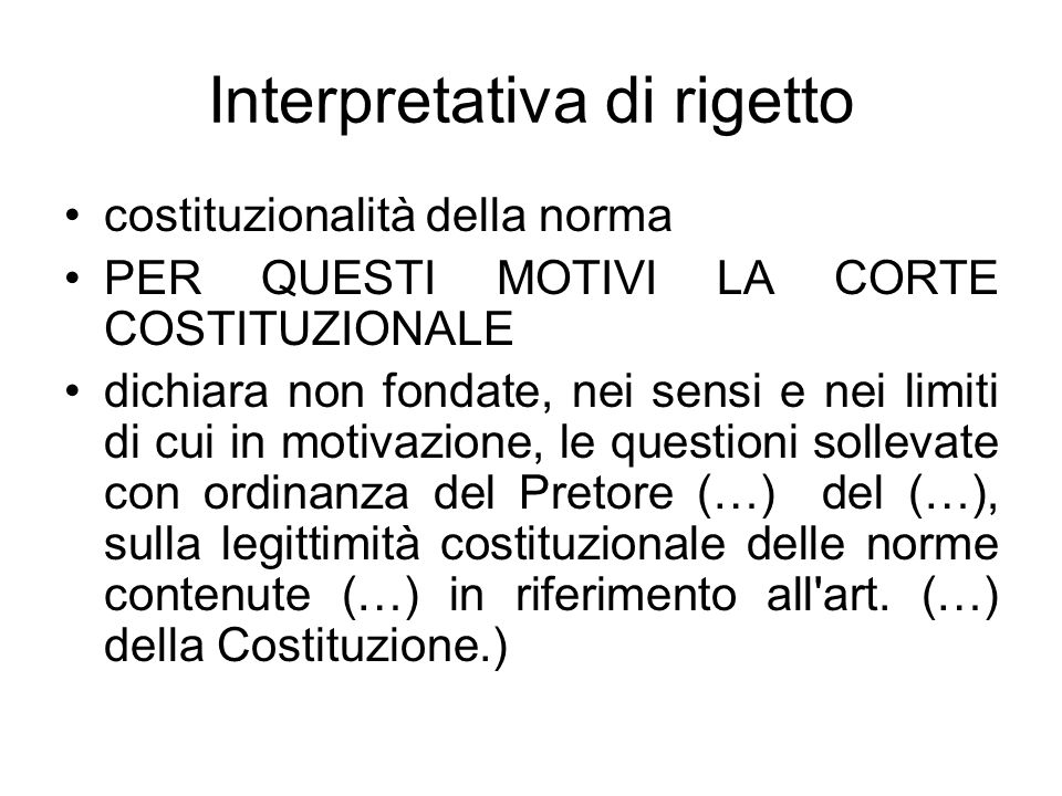 Interpretativa di rigetto