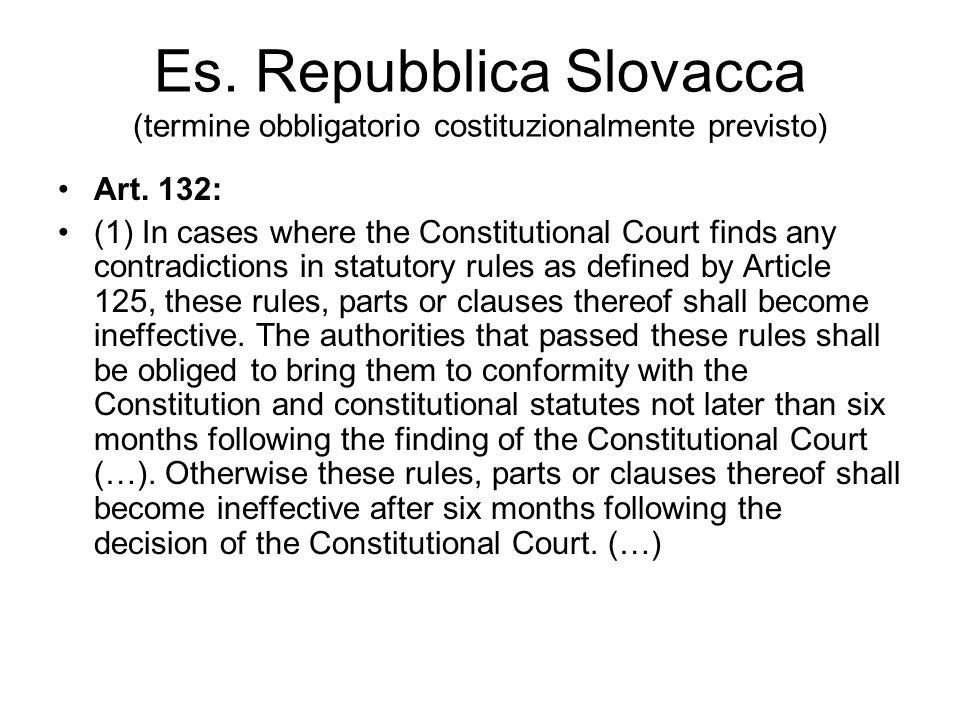 Es. Repubblica Slovacca (termine obbligatorio costituzionalmente previsto)