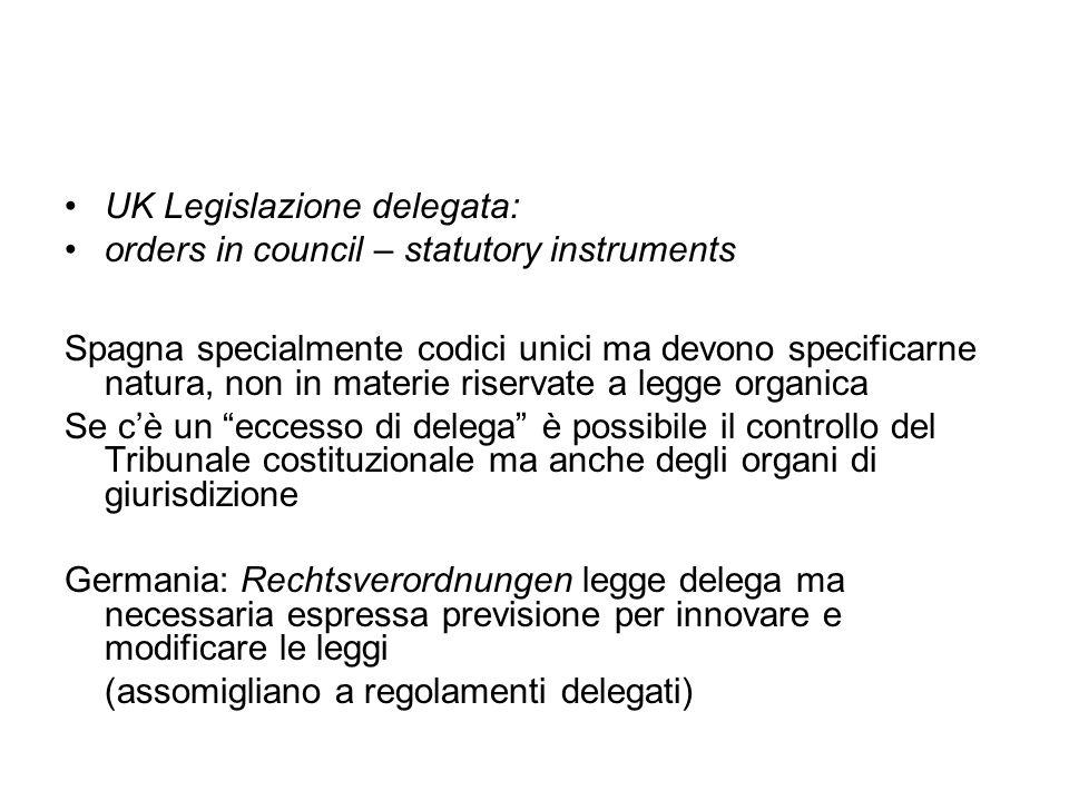UK Legislazione delegata: