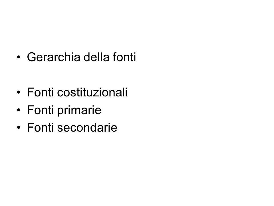 Gerarchia della fonti Fonti costituzionali Fonti primarie Fonti secondarie