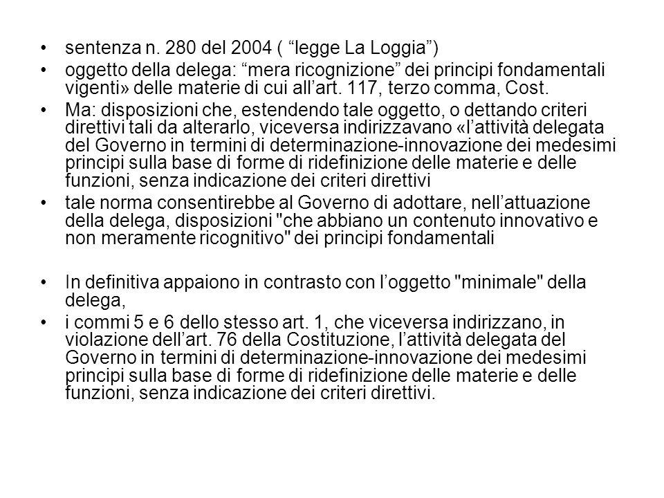 sentenza n. 280 del 2004 ( legge La Loggia )