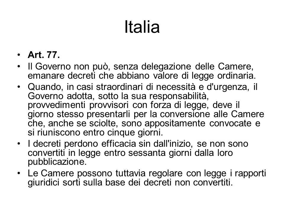 Italia Art. 77. Il Governo non può, senza delegazione delle Camere, emanare decreti che abbiano valore di legge ordinaria.