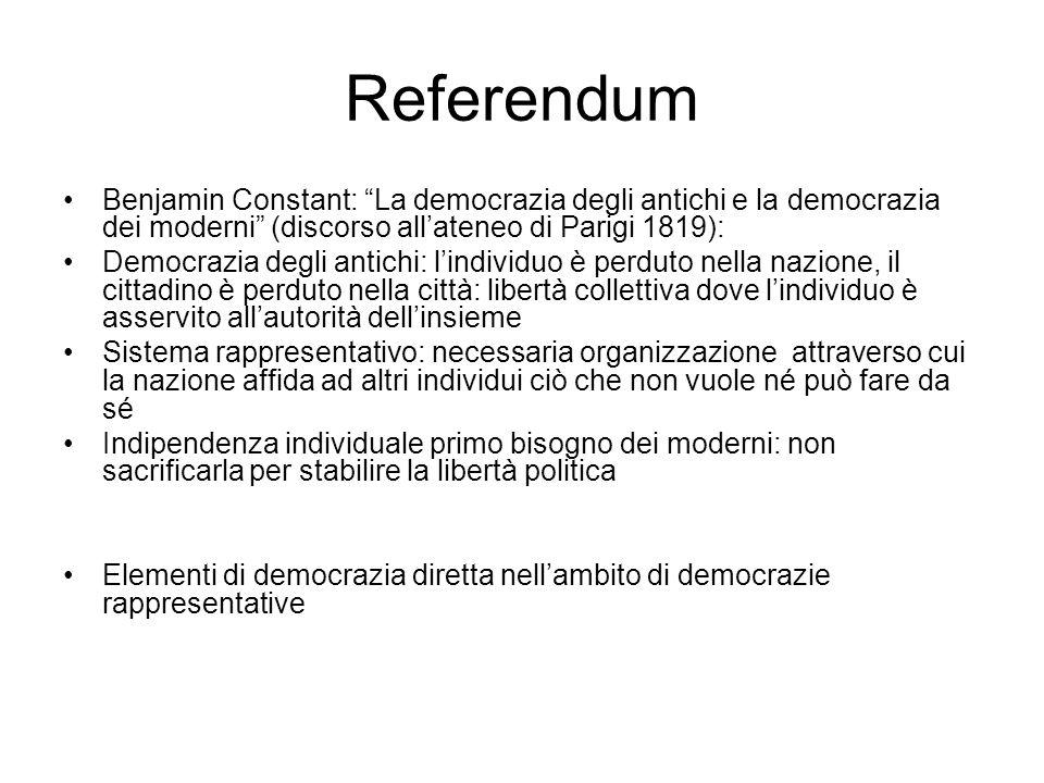 Referendum Benjamin Constant: La democrazia degli antichi e la democrazia dei moderni (discorso all'ateneo di Parigi 1819):