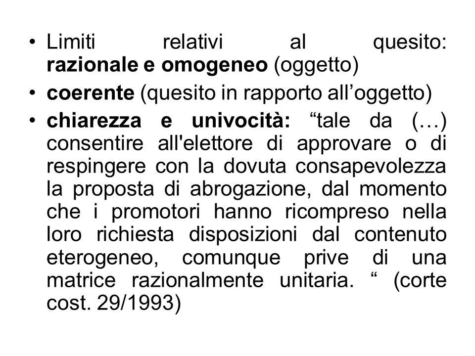 Limiti relativi al quesito: razionale e omogeneo (oggetto)