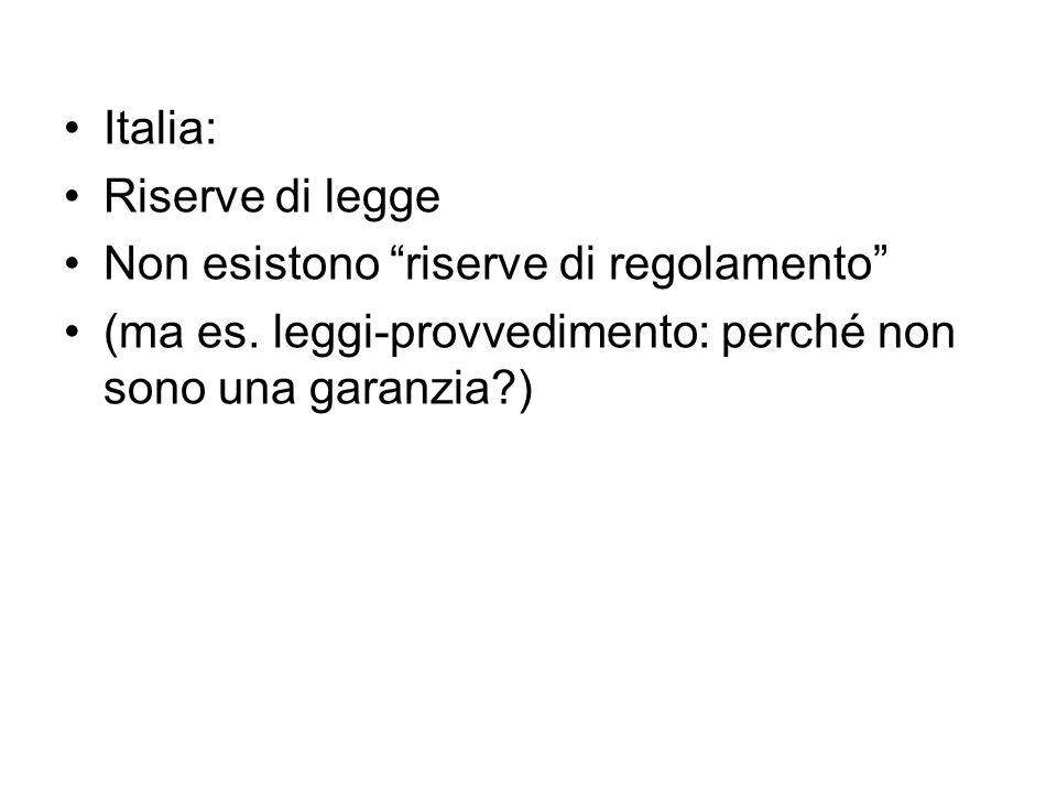 Italia: Riserve di legge. Non esistono riserve di regolamento (ma es.