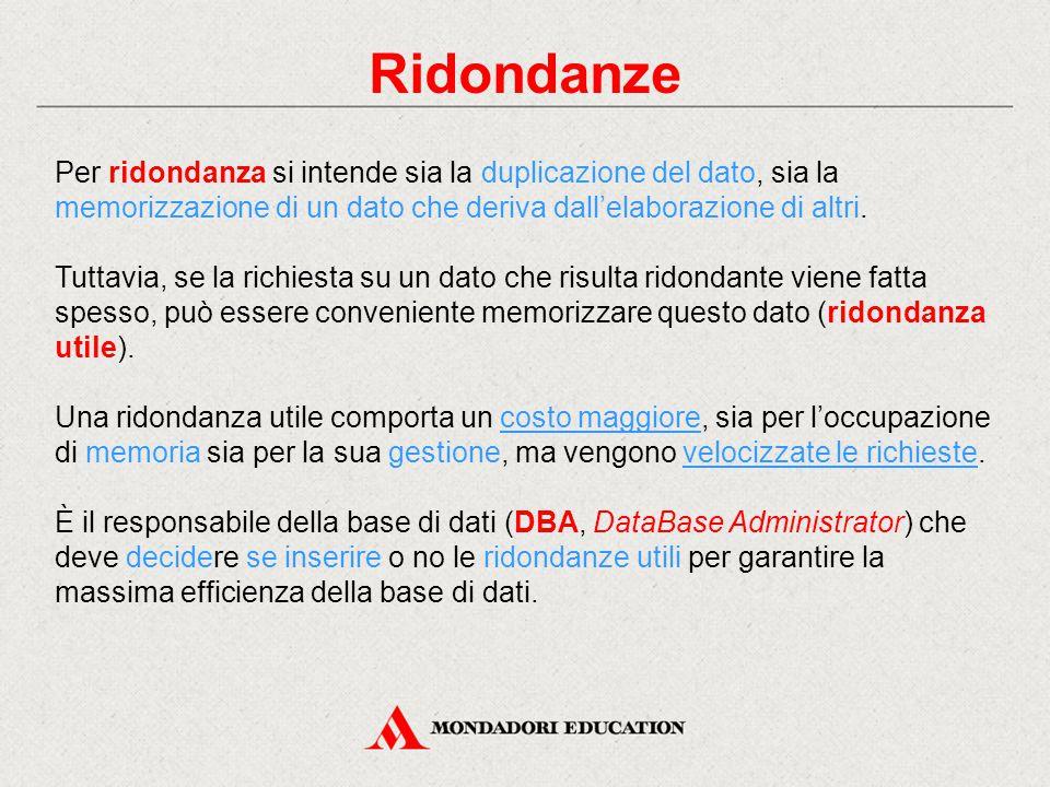 Ridondanze Per ridondanza si intende sia la duplicazione del dato, sia la memorizzazione di un dato che deriva dall'elaborazione di altri.