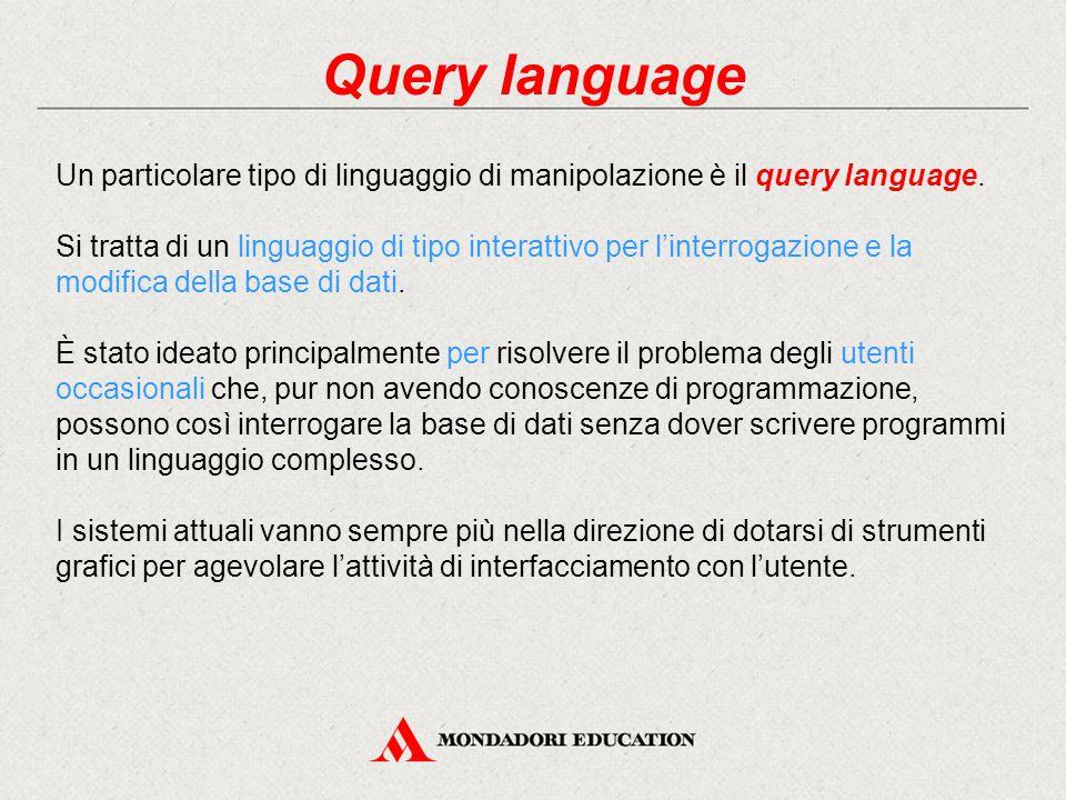 Query language Un particolare tipo di linguaggio di manipolazione è il query language.