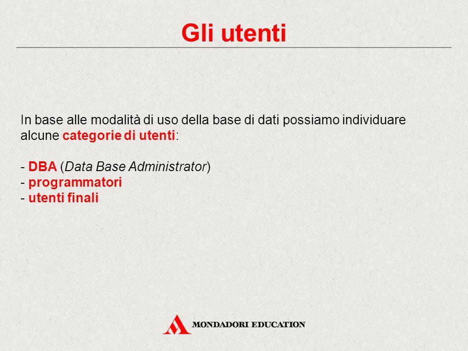 Gli utenti In base alle modalità di uso della base di dati possiamo individuare alcune categorie di utenti:
