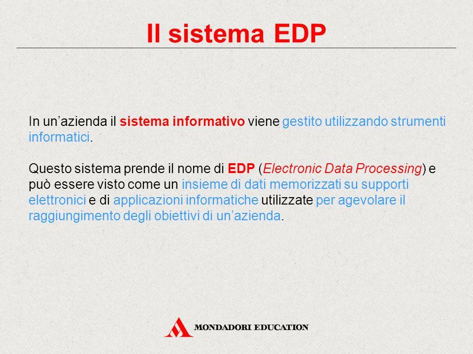 Il sistema EDP In un'azienda il sistema informativo viene gestito utilizzando strumenti informatici.