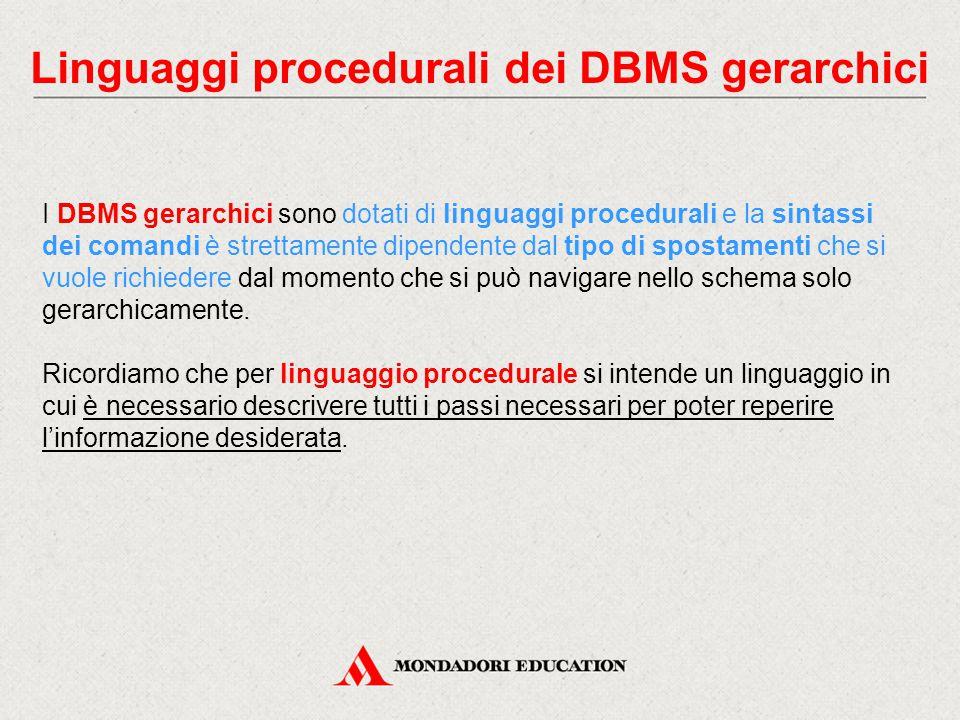 Linguaggi procedurali dei DBMS gerarchici