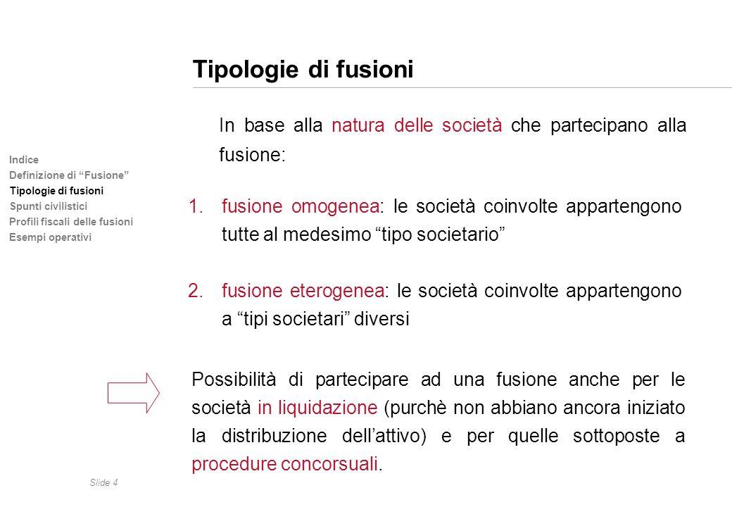 Tipologie di fusioni In base alla natura delle società che partecipano alla fusione: Indice. Definizione di Fusione