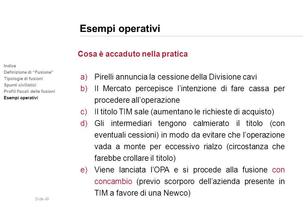 Esempi operativi Pirelli annuncia la cessione della Divisione cavi