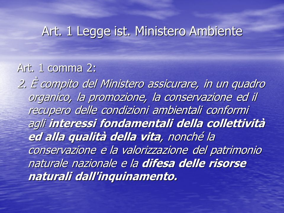 Art. 1 Legge ist. Ministero Ambiente