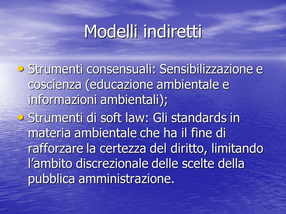 Modelli indirettiStrumenti consensuali: Sensibilizzazione e coscienza (educazione ambientale e informazioni ambientali);