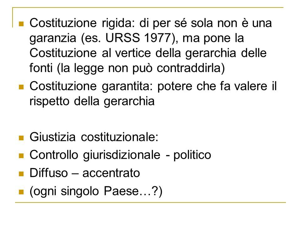 Costituzione rigida: di per sé sola non è una garanzia (es