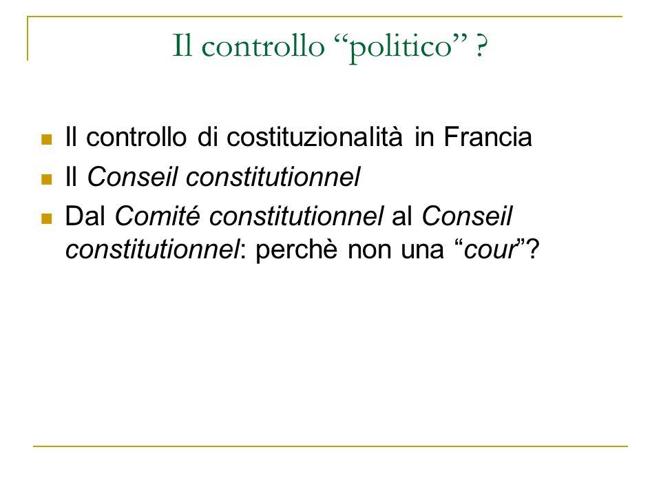 Il controllo politico
