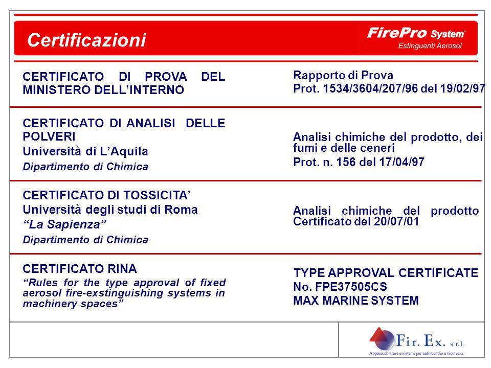 Certificazioni CERTIFICATO DI PROVA DEL MINISTERO DELL'INTERNO