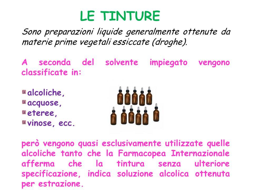 LE TINTURE Sono preparazioni liquide generalmente ottenute da materie prime vegetali essiccate (droghe).