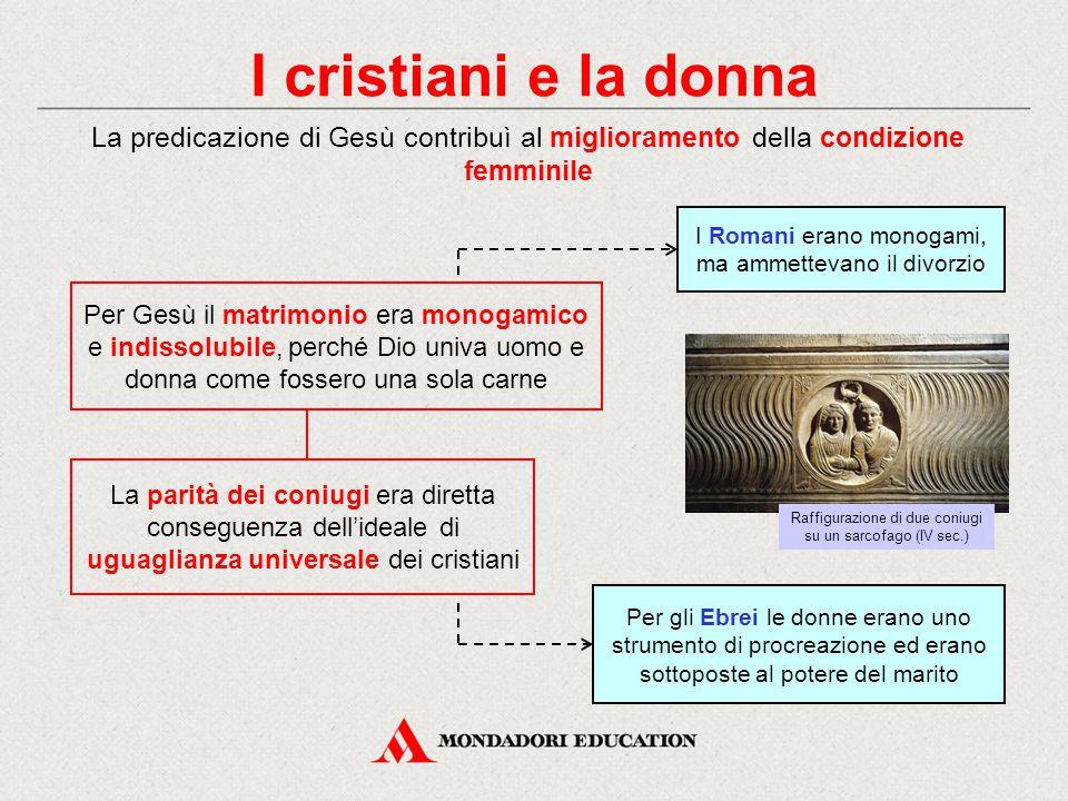 I cristiani e la donna La predicazione di Gesù contribuì al miglioramento della condizione femminile.