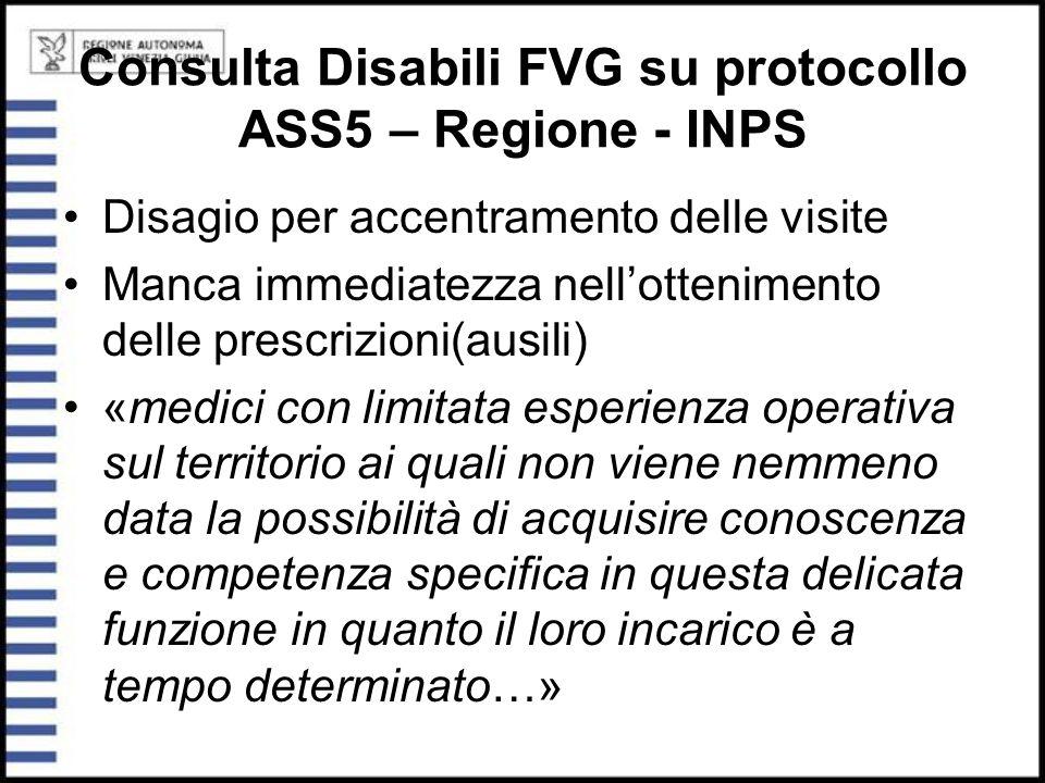 Consulta Disabili FVG su protocollo ASS5 – Regione - INPS