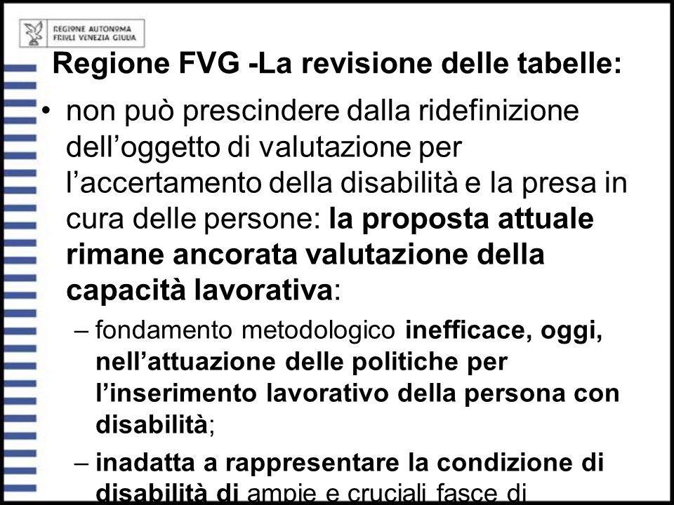 Regione FVG -La revisione delle tabelle: