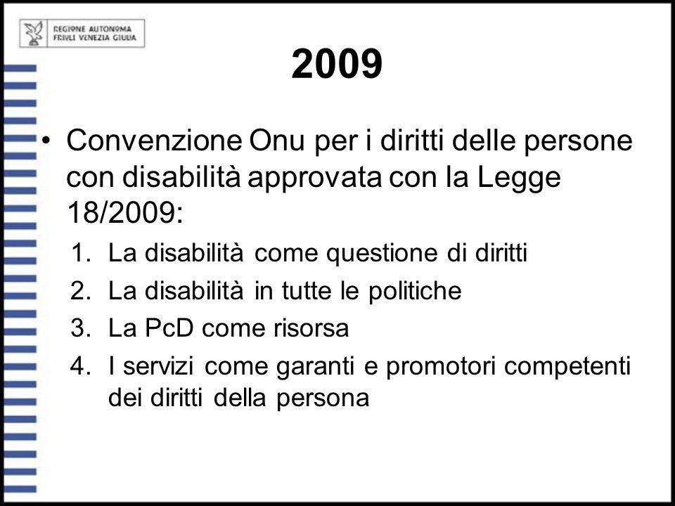2009 Convenzione Onu per i diritti delle persone con disabilità approvata con la Legge 18/2009: La disabilità come questione di diritti.