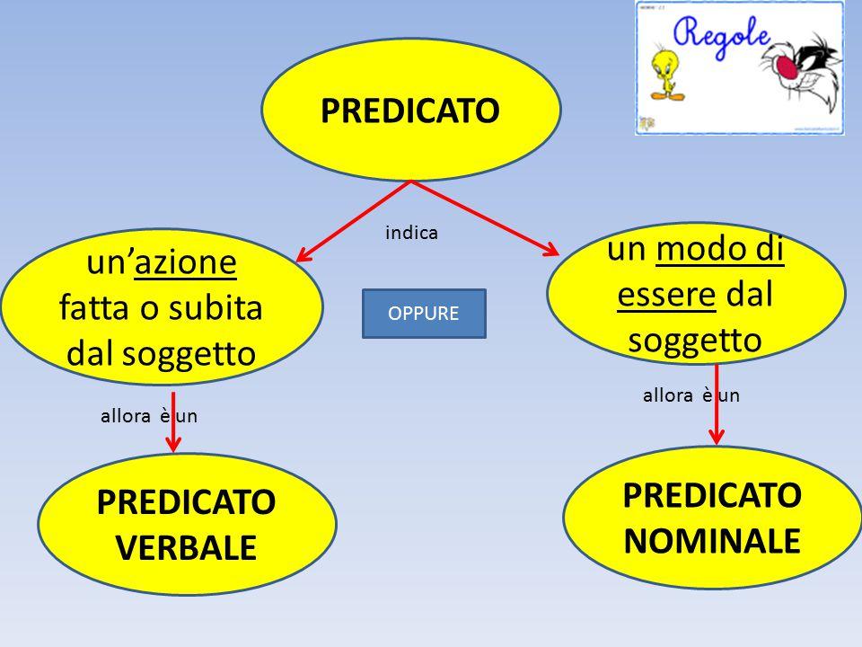 PREDICATO PREDICATO NOMINALE PREDICATO VERBALE