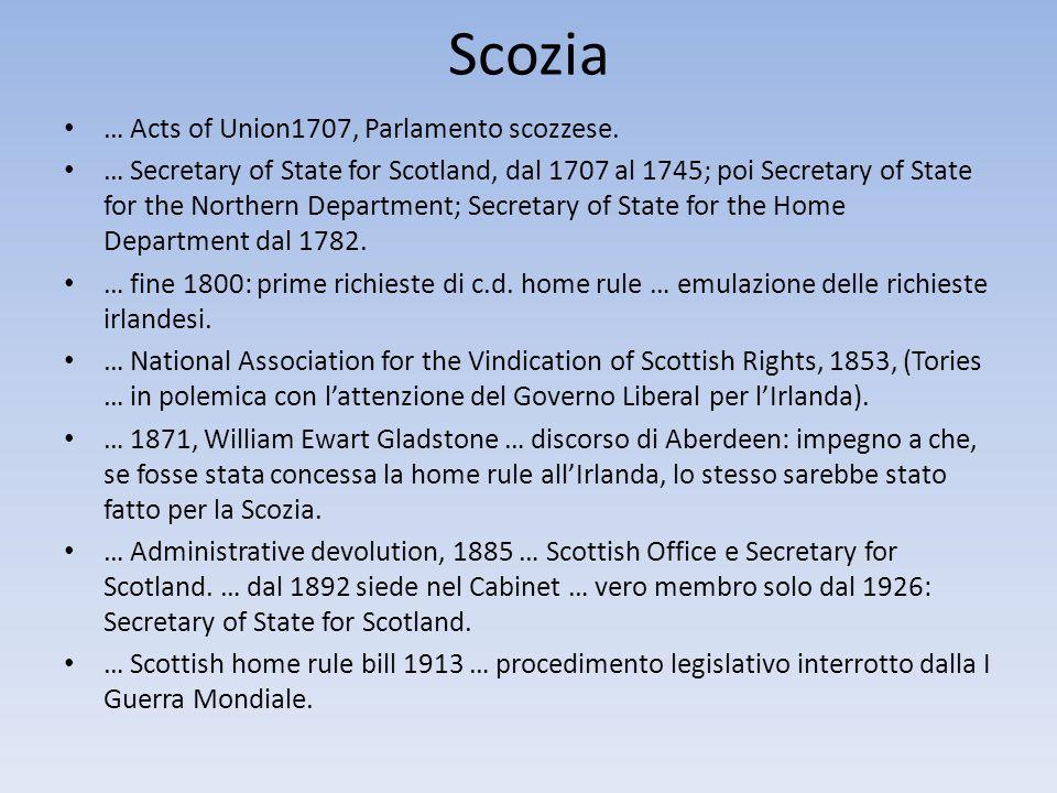 Scozia … Acts of Union1707, Parlamento scozzese.