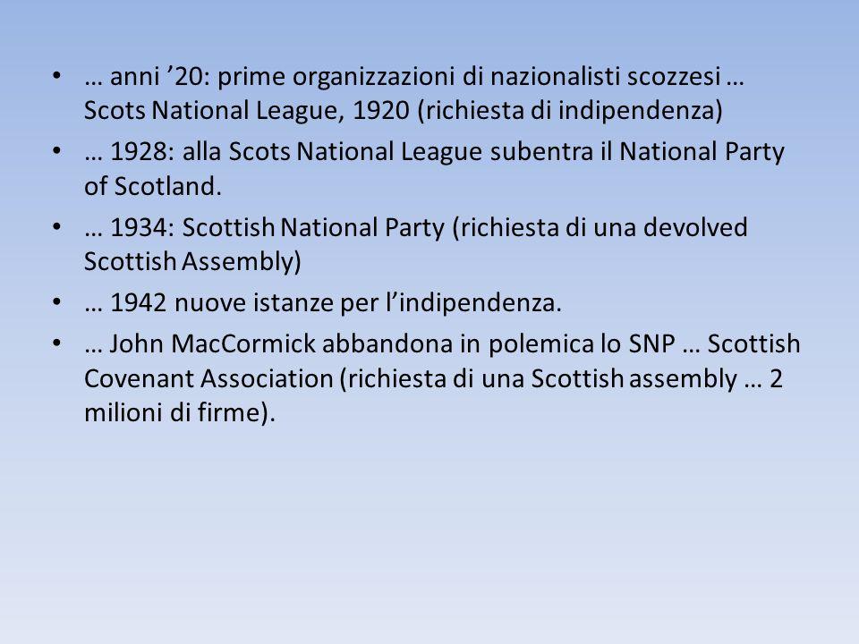 … anni '20: prime organizzazioni di nazionalisti scozzesi … Scots National League, 1920 (richiesta di indipendenza)
