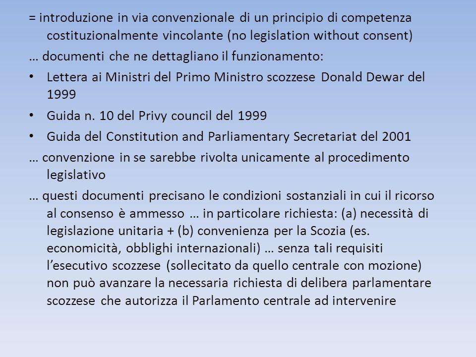 = introduzione in via convenzionale di un principio di competenza costituzionalmente vincolante (no legislation without consent)
