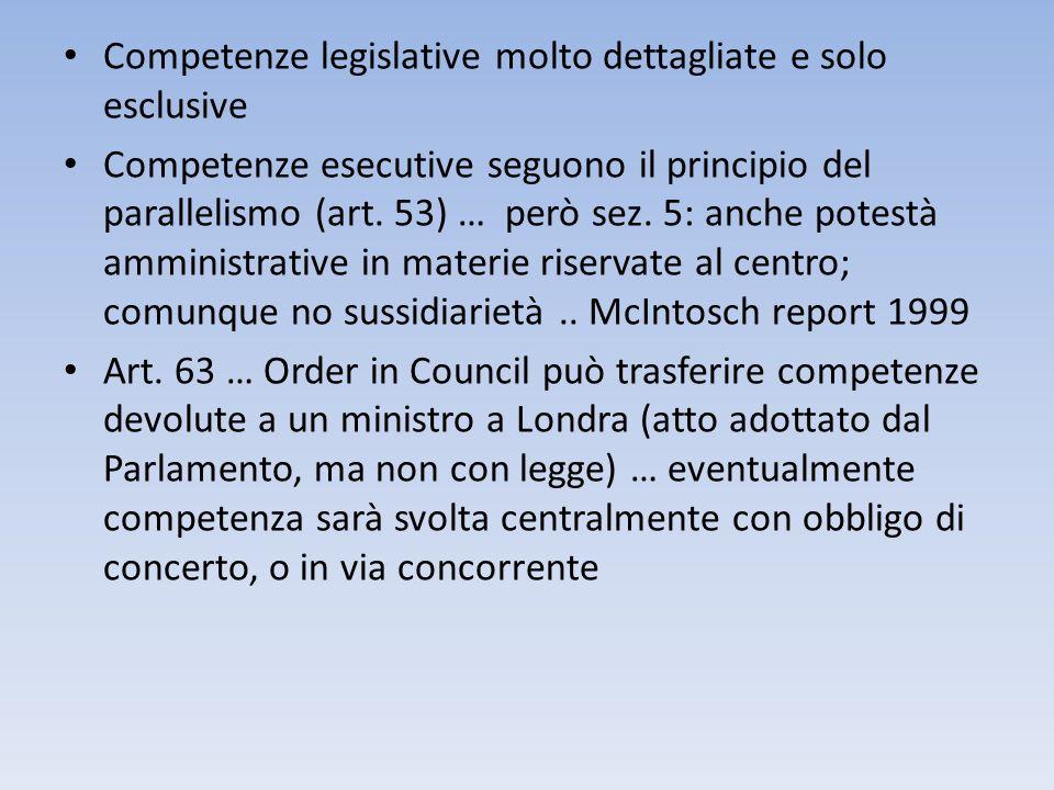 Competenze legislative molto dettagliate e solo esclusive
