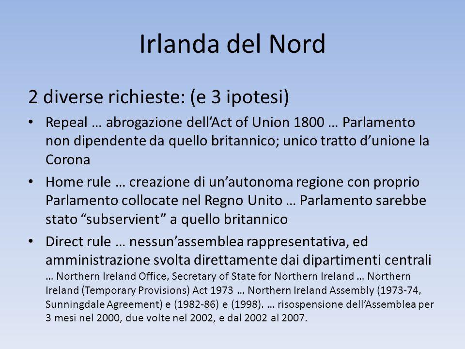 Irlanda del Nord 2 diverse richieste: (e 3 ipotesi)