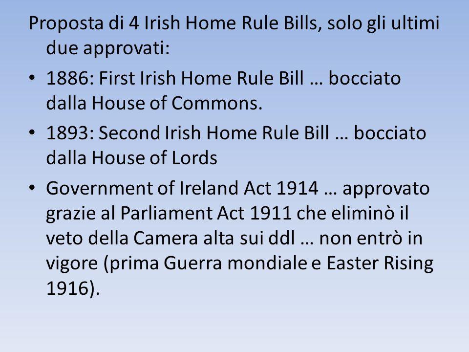 Proposta di 4 Irish Home Rule Bills, solo gli ultimi due approvati: