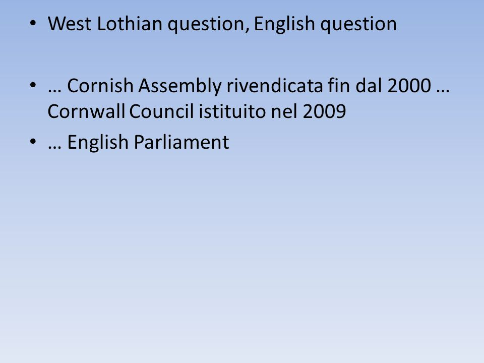 West Lothian question, English question