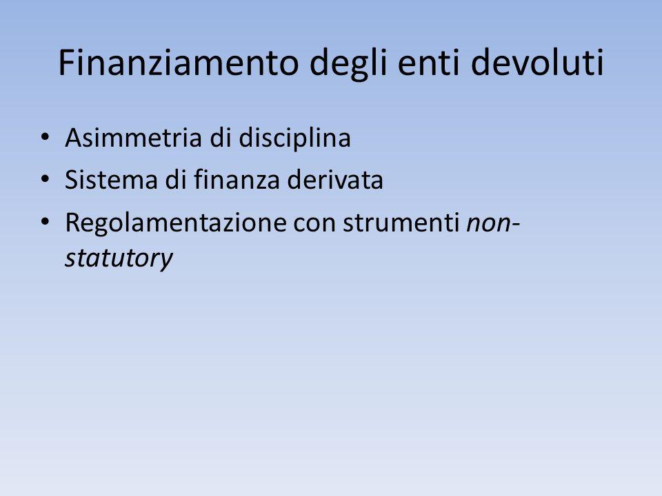 Finanziamento degli enti devoluti