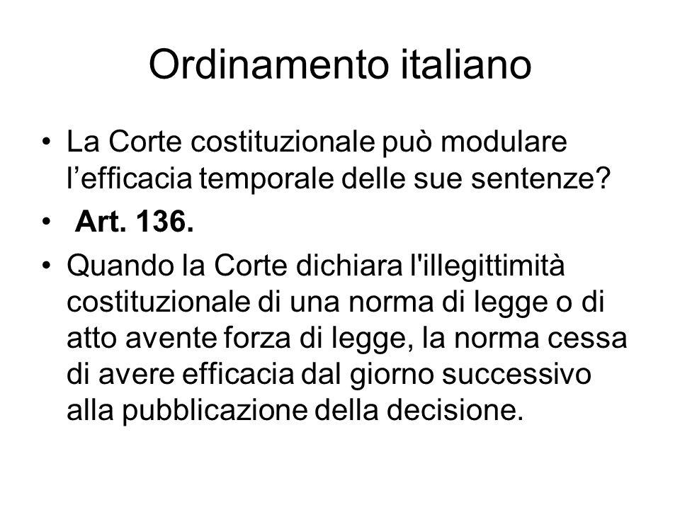 Ordinamento italiano La Corte costituzionale può modulare l'efficacia temporale delle sue sentenze
