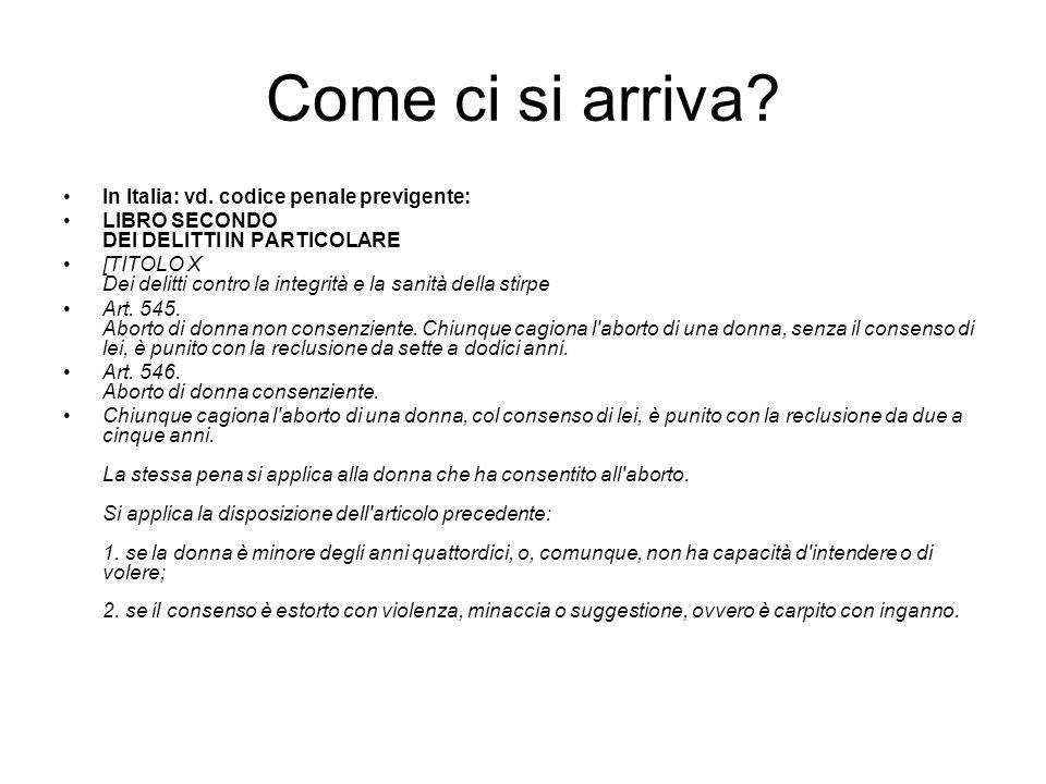 Come ci si arriva In Italia: vd. codice penale previgente: