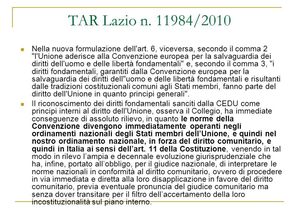 TAR Lazio n. 11984/2010