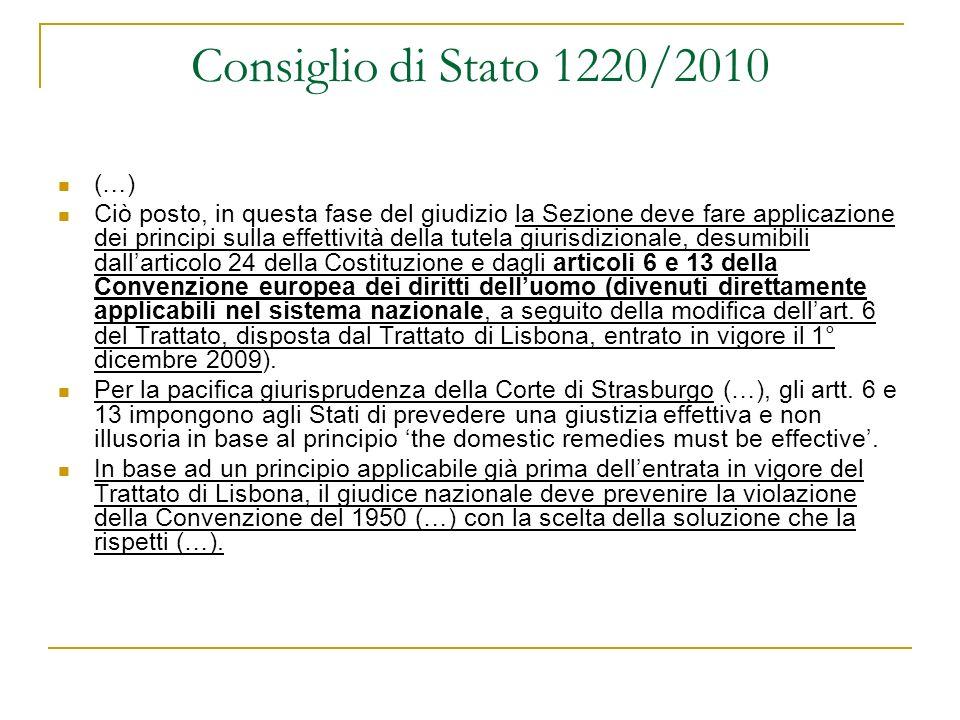 Consiglio di Stato 1220/2010 (…)